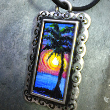 Ocean Sunset palm tree necklace  hand painted by rainbeauxcraft
