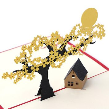 3D Pop UP Holiday Greeting Cards Cherry Tree House Christmas Thanksgiving Gift DropShip