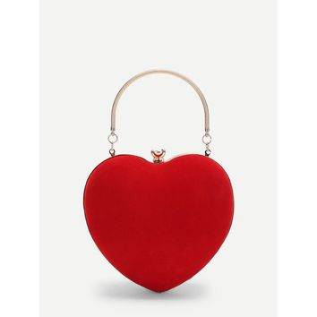 Red Heart Shaped Clutch Bag With Chain
