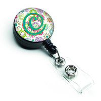 Letter C Flowers Pink Teal Green Initial Retractable Badge Reel CJ2011-CBR