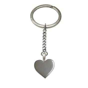 Silver Toned Heart Love Pendant Keychain