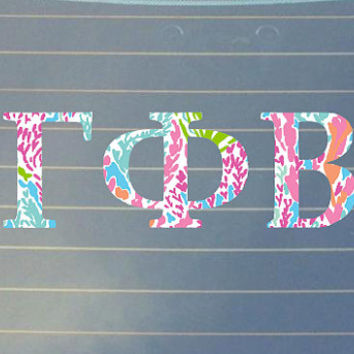 Lilly Pulitzer Inspired Gamma Phi Beta Car Decal | Gamma Phi Beta Car Sticker | Gamma Phi Beta Sorority | Gamma Phi Beta Laptop | Greek |161