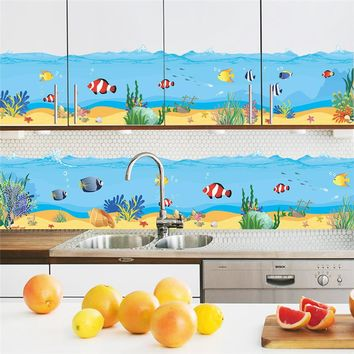 lovely seabed cartoon animal sea ocean fish coral washroom door home kitchen decal wall sticker kids room baby nursery DIY art