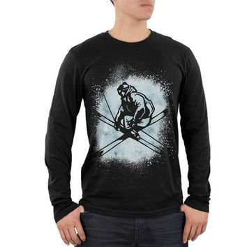 DCCKIS3 Winter Games Freestyle Ski Mens Soft Long Sleeve T Shirt