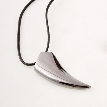 Brave Stainless Steel Wolf Tooth Spike Pendant Necklace