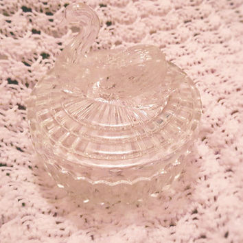 Vintage Jeannette Glass Swan Powder Jar with Lipstick Holder, Clear Crystal Swan Jewelry / Vanity / Trinket Box