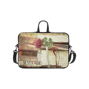 Personalized Laptop Shoulder Bag True Love Stories Never End With Vintage Red Rose Handbags 10 Inch