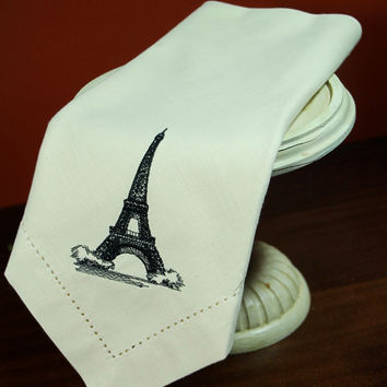 4 Eiffel Tower Embroidered Cloth Napkins -Cotton / Poly / french / personalized gift / table linens / party napkins/ ivory / white / black