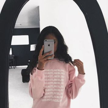DCCKHY9 2015 Autumn Fashion Pink Fleeced Thick Warm Hoodies Pullovers 800 Hotline Bling Winter Graphic Sweatshirts Women Harajuku Cute
