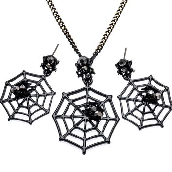 Yacq Spider & Web Necklace Dangle Earrings Sets Pendant W Chain Halloween Party Jewelry Decor Gifts for Women Girls Her EA12
