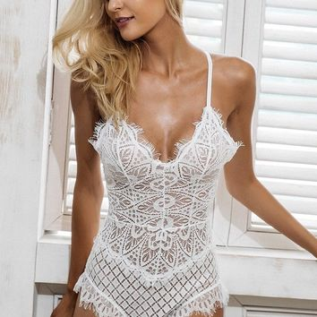 Laced Up Bodysuit - White