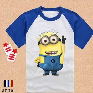 2015 new summer style Korean version of children's clothing Super Daddy little yellow man short sleeve T-shirt boys and girls