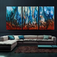 """Blue Oil Painting 72"""" Wall Art on Canvas, Original large Artwork, Luxury Style, Abstract Modern Painting, Wall Art, Office Decor, By Nandita"""