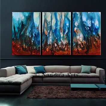 "Blue Oil Painting 72"" Wall Art on Canvas, Original large Artwork, Luxury Style, Abstract Modern Painting, Wall Art, Office Decor, By Nandita"