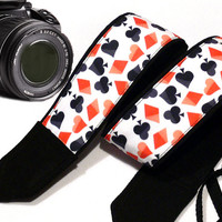 Poker Camera Strap. Red  Black Camera Strap. Dslr Camera Strap. Cards Camera Strap.  Accessories