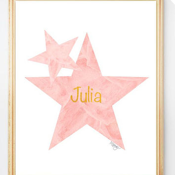 Star Nursery Print, Star Art, Star Nursery Decor, Coral Star Print, 8x10 Watercolor, Blush and Gold Art, Personalized Art, Coral Star Print