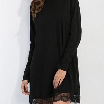 Black Patchwork Lace Hollow-out Draped Band Collar High Neck Slim Mini Dress