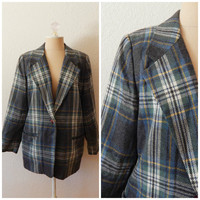 Vintage Womens Green Flannel Plaid Wool One Button Career Blazer Size 8