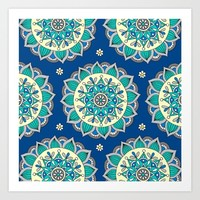 Blue & Cream Mandala  Art Print by Sarah Oelerich