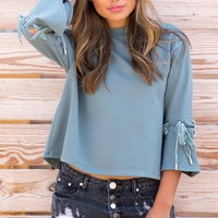 Teal lace up sleeve sweatshirt