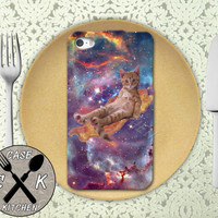 Cat On A Piece Of Bacon Flying Through A Space Galaxy Cool Funny Rubber Tough Phone Case For The iPhone 4 and 4s and iPhone 5 and 5s and 5c