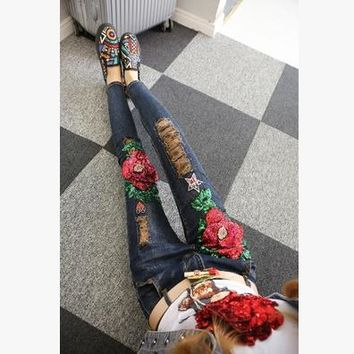 Fashion Rose Flower Sequin Pattern Tack Bead Irregular Worn Ripped Long Jeans Small Foot Pants