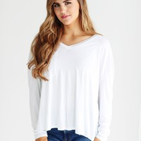 White PIKO Long Sleeve V-Neck Pocket Tee