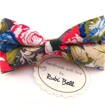 Bow Tie - floral bow tie - wedding bow tie - flower bow tie with red, blue, green and grey pattern - man bow tie -men bow tie-gifts for him