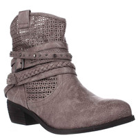 Not Rated Vanoora Braided Strap Cutout Western Ankle Boots - Grey