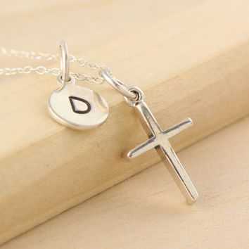 Confirmation Necklace Personalized - Baptism Gift - Cross Necklace - First Communion Gift - Christian Jewelry - Initial Necklace Goddaughter