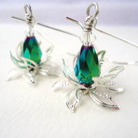 Green Crystal Water Lily Earrings With Long Kidney Ear Wires