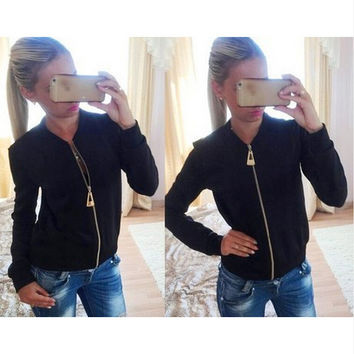 Hot Sale Slim Women's Round-neck Stylish Jacket [7322499457]
