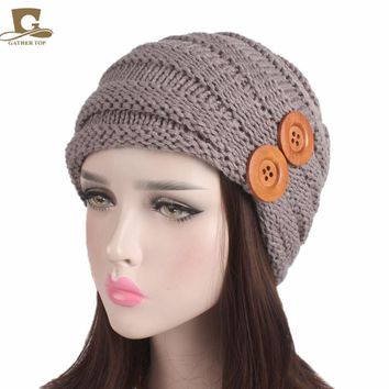 New Fashion Women Winter Warm Knit Slouchy Cap Double Wood Button Knitted Baggy Hat Girls Knitting Hats