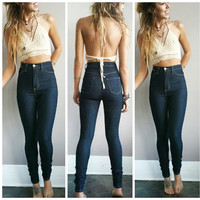 High Waisted Denim Skinnies
