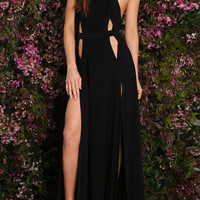 Black Halter Cut Out Backless Side Split Maxi Party Dress