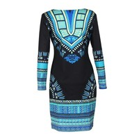 Sexy Long Sleeve Bodycon Dashiki Dress