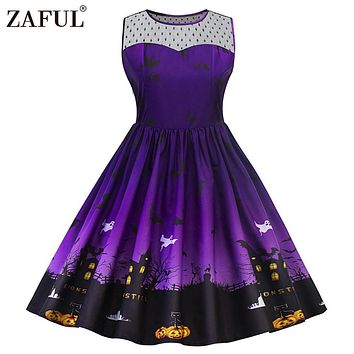 ZAFUL 5XL Halloween Print Lace Panel Vintage Dress Women Retro Rockabilly A-Line Pin up Party Dresses Feminino Vestido Plus Size