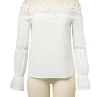 FREE SHIPPING Early autumn new slim one word shoulder lace hollow long sleeve white shirt