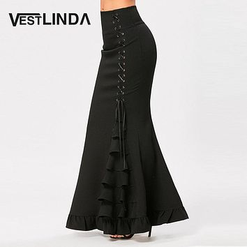 VESTLINDA Women Skirts Black Victorian Gothic Criss Cross Side Ruffled Maxi Mermaid Skirt Costume Fishtail Mermaid Long Skirt