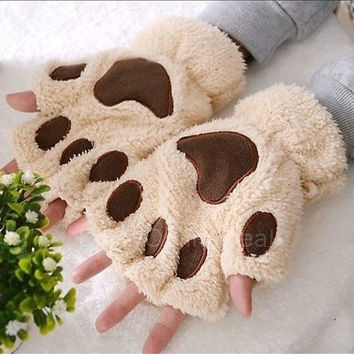 Women's Fluffy Bear/Cat Plush Paw/Claw Lovely fingerless gloves = 1929611524