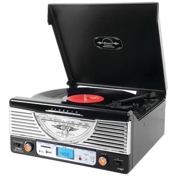 Pyle Home Bluetooth Retro Vintage Classic Style Turntable Vinyl Record Player With Usb And Mp3 Computer Recording PYLPTR8UBTBK