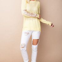 Sparkle and Shine Sequined Sleeved Sweater - Yellow