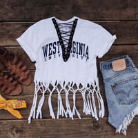 Fringe College Lace Up Tee