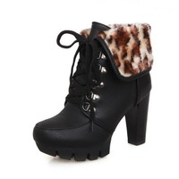 BeanFashion Womens Close Round Toe Platform Leopard Pattern Lace-up Closure Chunky Heels Ankle High Boots, Black, 5 B(M) US