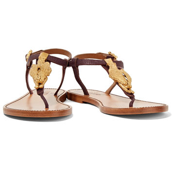 Embellished textured-leather sandals | Valentino | US | THE OUTNET