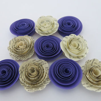 "Book page and Violet Purple paper flowers, 10 piece set, 1.5"" roses,  love books wedding theme, baby shower decor, bridal shower decorations"