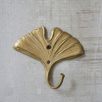 Cast Iron Gold Ginko Hook