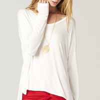 WHITE OVERSIZE TEE WITH THUMB HOLES