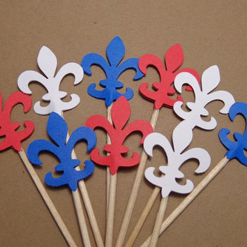 24 Fleur De Lis Red White Blue Food Picks - Cupcake Toppers - Party Picks