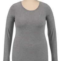 Plus Size - Basic Color Long Sleeve Tee